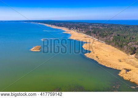Aerial view of the Vistula Lagoon and the Vistula Spit. Poland