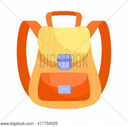 Fancy Yellow And Orange Backpack Isolated On White Background. Cute School Backpack With Little Pock