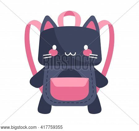 Cute Purple And Pink Cat-shaped Child Backpack Isolated On White Background. Little Child Adorable B