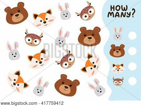 Counting Game For Preschool Kids. Educational Math Game. Count How Many Animals There Are And Write