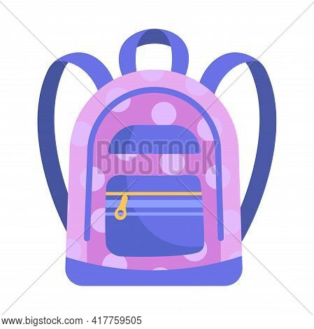 Cute Small Purple Child Backpack Isolated On White Background. Little Child Adorable Backpack With P