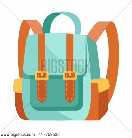 Fancy Blue And Brown Backpack Isolated On White Background. Cute School Backpack With Little Pocket