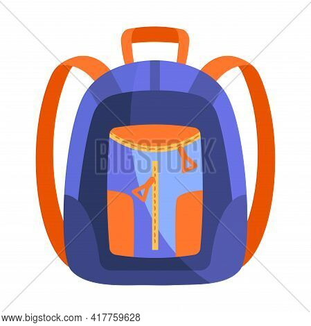 Fancy Blue And Orange Backpack Isolated On White Background. Cute School Backpack With Little Pocket