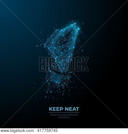 3d Hand Holding Something Tiny In Dark Blue. Keep Neat, Hand Gesture Concept. Digital Vector Human W