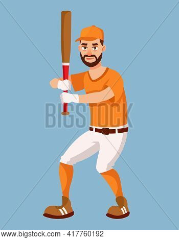Baseball Player In Attacking Position. Sportsman In Cartoon Style.
