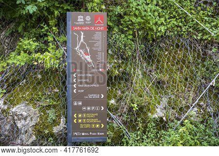 Sacro Monte (va), Italy - June 01, 2020: Tourist Sign At Pilgrimage Village Of Santa Maria Del Monte