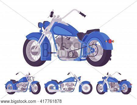 Chopper Custom Blue Classic Motorcycle, Bobber Bike. Fast Motorsport, High Speed Sport Vehicle. Vect