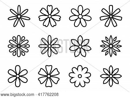 Vector Set With Silhouettes Daisy Or Camomile Flowers Illustration On White Background. Outline Blos