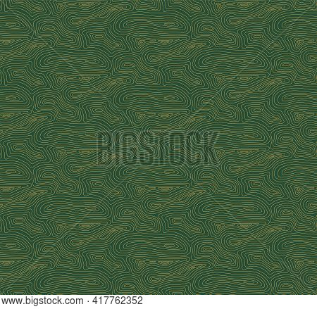 Wood, Timber Texture Abstract Geometric Seamless Pattern, Gold On Green Background. Hand Drawn Vecto