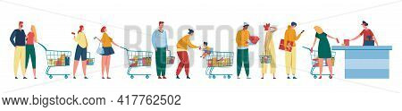 People Queue. Customers Waiting In Line At Counter With Cashier. Men And Women With Shopping Carts S