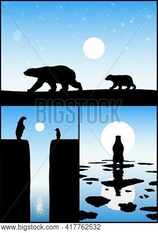 Polar Bears Family. Endangered Animal Silhouette. Mother And Child