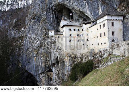 Predjama / Slovenia - December 8, 2017: The Castel Lueghi In Predjama Village, Slovenia