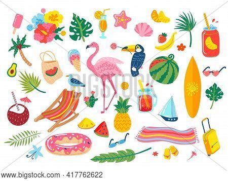 Summer Elements. Cocktail Drinks, Soda, Tropical Leaves, Flowers, Pineapple, Watermelon, Flamingo, T