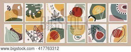 Organic Abstract Print. Minimal Boho Wall Art Decor. Organic Shapes, Tropical Plants, Leaves, Flower