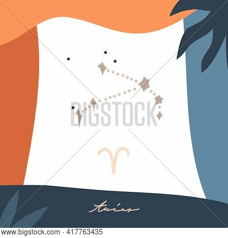 Hand Drawn Vector Abstract Stock Graphic Simple Astrology Celestial Illustration Card Art With Moder