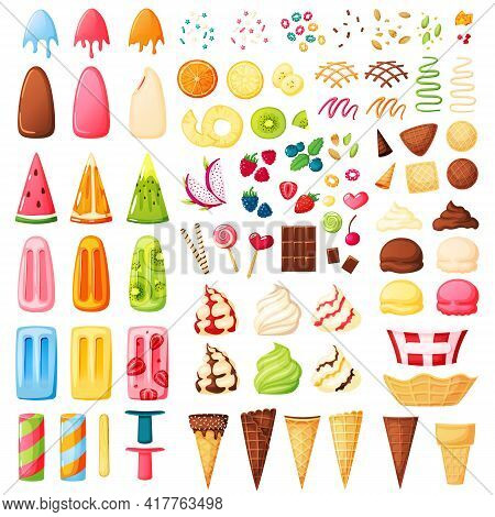 Ice Cream Constructor. Various Flavors, Cones, Toppings, Sprinkles To Make Your Ice Cream. Vanilla,