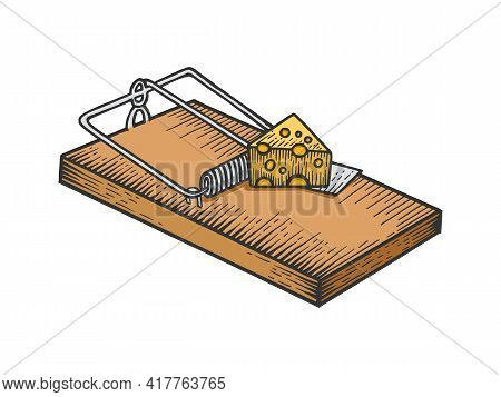 Mousetrap With Cheese Color Sketch Engraving Vector Illustration. Scratch Board Style Imitation. Bla