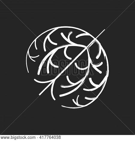 Tumbleweed Chalk White Icon On Black Background. Desert Dry Plant Ball. Seasonal Pollen As Cause Of