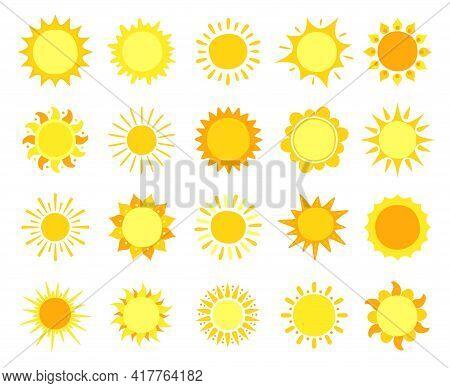Sun Icons. Sunshine, Hot Summer And Sunrise Symbols, Gold Sunlight Circles, Solar And Sunny Weather