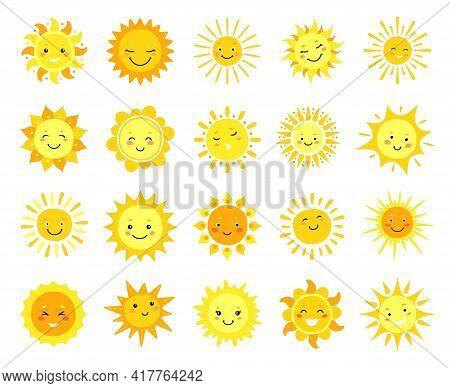 Cute Sun. Cartoon Sunny Emoji, Happy Yellow Sun Characters With Smile, Sunshine Emoticon, Funny Kawa