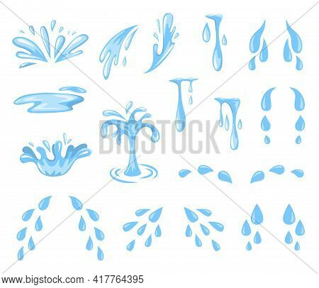 Cartoon Splashes And Drops. Tears, Sweat Or Water Spray And Flow, Falling Blue Water Droplets. Raind