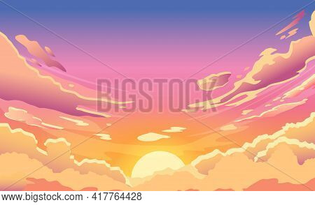 Sunset Sky. Cartoon Summer Sunrise With Pink Clouds And Sunshine, Evening Cloudy Heaven Panorama. Mo