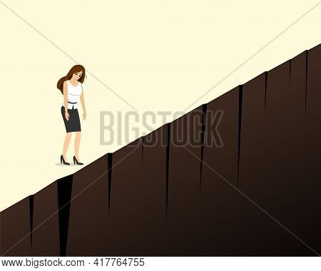 Depressed Sad Businesswoman Stand On Cliff Edge. Business Woman Crisis And Burnout Concept. Tired La