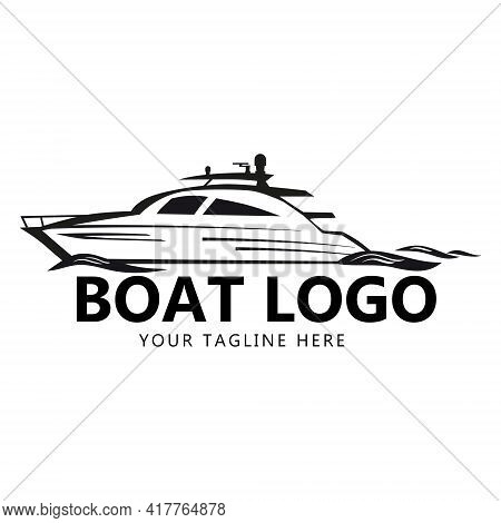 Speed Boat Logo Design Temlate, Boat, Yacht, Waves. Icon Brand For Identife For Business. Vector Ill