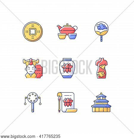 Chinese Traditions Rgb Color Icons Set. Ancient Coin. Tea Ceremony. Paper Fan. Red Cheongsam. Histor