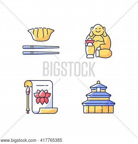 Chinese History Rgb Color Icons Set. Traditional Calligraphy. Laughing Buddha. Jiaozi, Gyoza. Temple