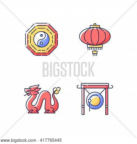 Lunar New Year Attributes Rgb Color Icons Set. Bagua, Feng Shui. Paper Lantern. Loong Dragon. Chines
