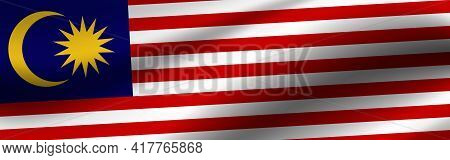 Banner With The Flag Of Malaysia. Fabric Texture Of The Flag Of Malaysia.