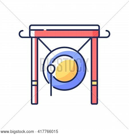 Chinese Gong Rgb Color Icon. Traditional Instrument For Announcement In China. Ancient Oriental Cult
