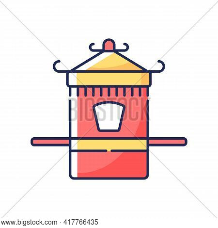 Chinese Sedan Chair Rgb Color Icon. Traditional Wedding Ceremony. Ancient Vehicle For Transportation
