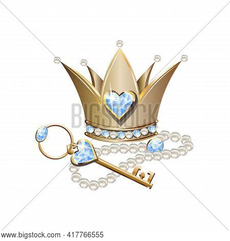 Fairy Tale Vector Illustration Of Princess Jewels. Crown Or Tiara With Pearls And Blue Stones, Pearl