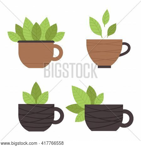 Set Of Tea Cups With Green Leaves. Matcha Tea. Elements For The Design Of A Cafe, Menu, Restaurant.
