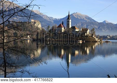 Bled / Slovenia - December 8, 2017: The Lake Bled And Santa Maria Church Near Bled, Slovenia