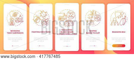 Liver Duties Onboarding Mobile App Page Screen With Concepts. Clotting, Blood Sugar Regulation Walkt