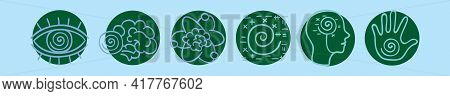 Set Of Hypnotist Cartoon Icon Design Template With Various Models. Modern Vector Illustration Isolat