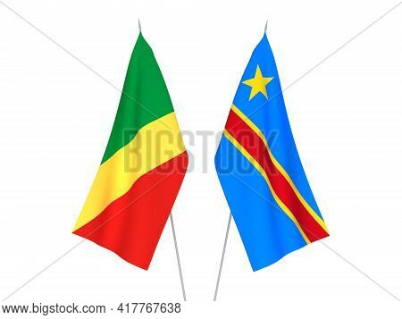 National Fabric Flags Of Democratic Republic Of The Congo And Republic Of The Congo Isolated On Whit
