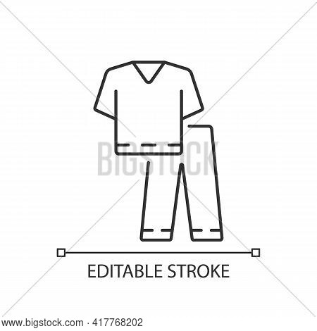 Scrub Suit Linear Icon. Top And Trousers For Nurse. Suit To Work In Clinic. Doctor Uniform. Thin Lin