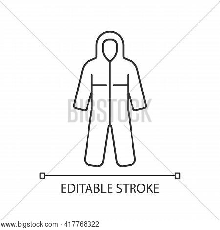 Medical Coveralls Linear Icon. Protective Wear From Dangerous Contamination. Suit For Laboratory. Th