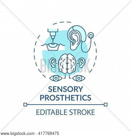 Sensory Prosthetics Concept Icon. Rehabilitation Engineering Application Idea Thin Line Illustration