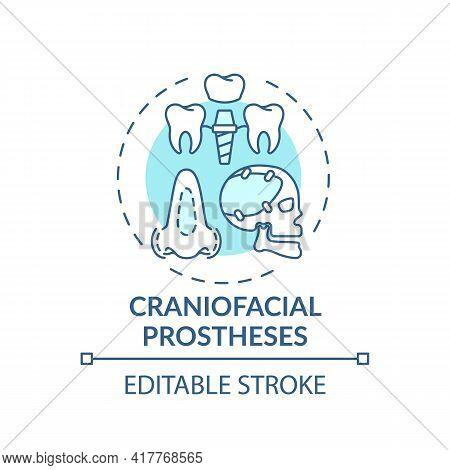 Craniofacial Prostheses Concept Icon. Prostheses Type Idea Thin Line Illustration. Maxillofacial Pro