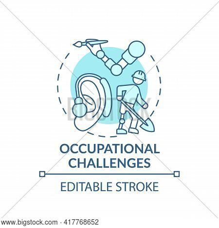 Occupational Challenges Concept Icon. Upper-limb Prostheses Task Idea Thin Line Illustration. Manipu