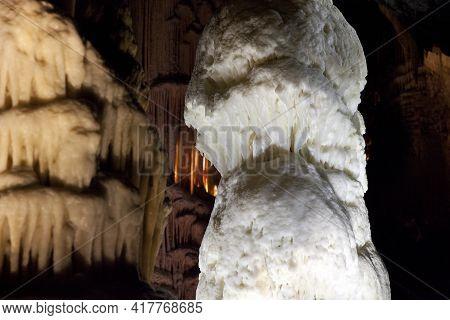 Postojna / Slovenia - December 9, 2017: World Famous Cave Postojna With Stalactites And Stalagmites,