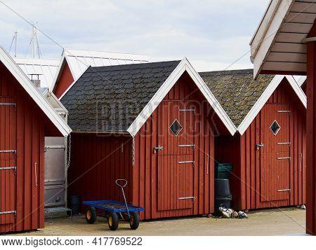 Beautiful Red Fishing Huts On The Coast Faaborg Denmark