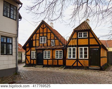 Beautiful Picturesque Small Street Street With Old Houses In Tourist Attraction Port City Of Faaborg