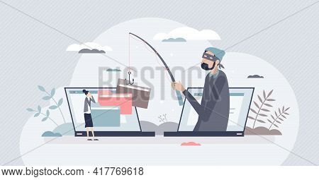 Online Fraud And Internet Crime Hacker Steals Information Tiny Person Concept. Personal Data Phishin