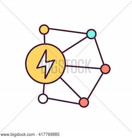 Power Transmission Network Rgb Color Icon. Electricity Delivery And Distribution. Complex System. La